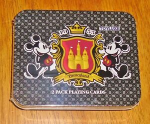 Disneyland-1955-2-Pack-PLAYING-CARDS-Deck-in-Collectible-TIN-Box-Mickey-Set-RARE
