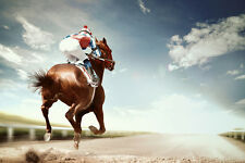 BEAUTIFUL HORSE RACING CANVAS PICTURE #58 HORSE GALLOPING RACING CANVAS PICTURE