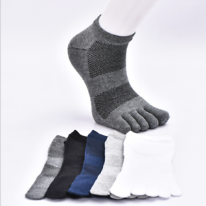 5-Pairs-Mens-Cotton-Toe-Five-Finger-Sports-Socks-Solid-Ankle-Breathable-Low-Cut