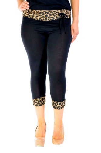 New Womens Plus Size Leggings Ladies Leopard Animal Print Band Cropped Nouvelle