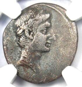 Roman-Octavian-Augustus-AR-Silver-Denarius-Coin-30-29-BC-NGC-Choice-Fine