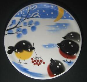 12-034-Snowbird-Platter-plate-Birds-with-Berries-Snow-winter-Colorful-Estonia-Art