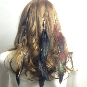 f1e7d817fb1 Image is loading Women-Bohemia-Hippie-Party-Indian-Rooster-Feather-Hair-