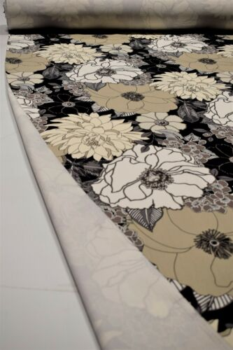 "100/% Cotton Upholstery Drapery Canvas Duck Black Floral Tropical Fabric 55/""W"