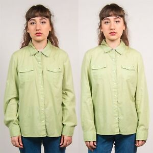 d36016441044 TOMMY HILFIGER SHIRT WOMENS LIGHT GREEN LONG SLEEVE CASUAL VINTAGE ...