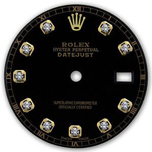 REFINED-MENS-2-TONE-DATEJUST-BLACK-DIAMOND-DIAL-RT-FOR-ROLEX-36