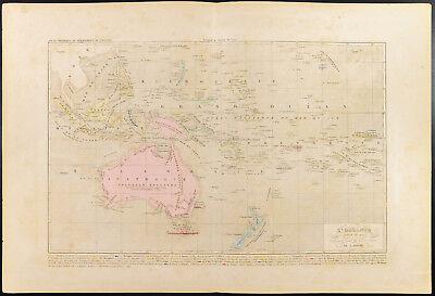 Landkarte Geografische Antik Australien Neue Seeland Houze Humble 1859 Océanie