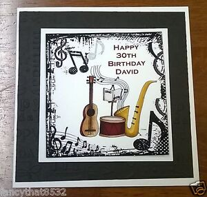 Image Is Loading Mens Handmade Personalised Birthday Card Music Any Age