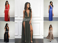 New Womens Ladies Multi Way High Slit Maxi Low Cut Wrap Infinity Party Dress