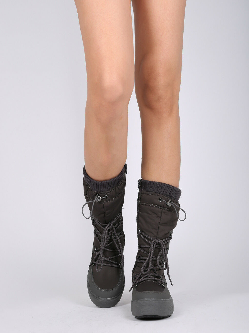 Women Mixed Media Mid-Calf Sweater Cuff Lace Up Winter Boot - 18155