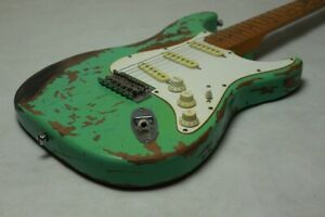 New-Favorite-Surf-Green-100-Handmade-Relic-ST-Electric-Guitar-Alder-Body-Aged