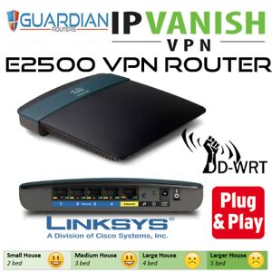 Details about Cisco Linksys E2500 N600 ddwrt IPVanish VPN Router Guardian  plug & play
