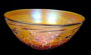 FIELDS & FIELDS ART GLASS GOLD IRIDESCENT SPOTTED CRACKLE LARGE 14 1/4 BOWL 2005