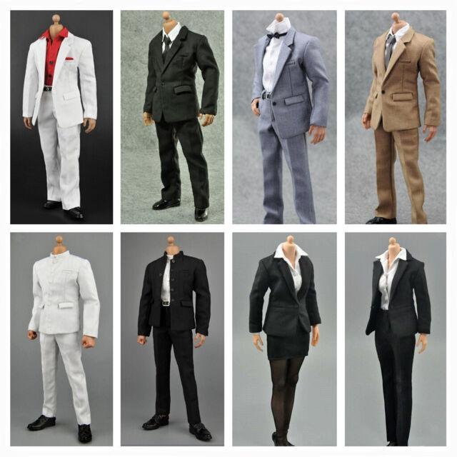 "1//6 Scale Men Suit Full Set BLACK For 12/"" Hot Toys Male Figure U.S.A SELLER"