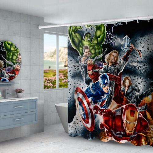 The Avengers Shower Curtain Bathroom Rugs Bath Mats Toilet Lid Cover 4Pcs Sets