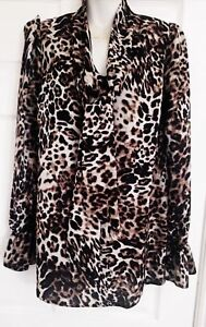 150b709eed Image is loading LEOPARD-ANIMAL-PRINT-PUSSY-BOW-BLOUSE-TOP-JOHN-