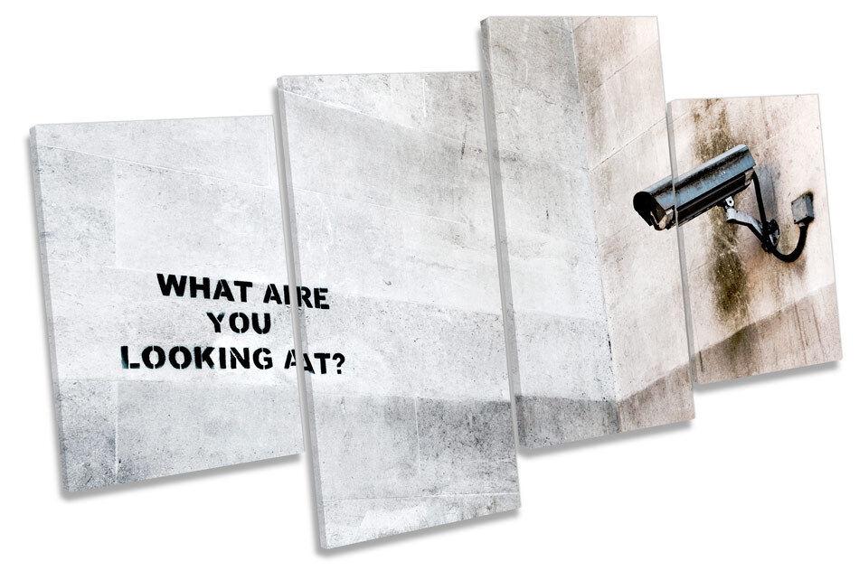 ARTE de la pared de Graffiti Graffiti de Banksy de CCTV MULTI lona en caja enmarcada c150e3