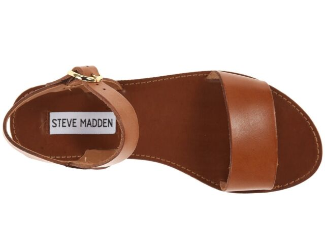 Steve Madden DONDDI Women's Casual Leather Ankle Strap Flat Sandals TAN