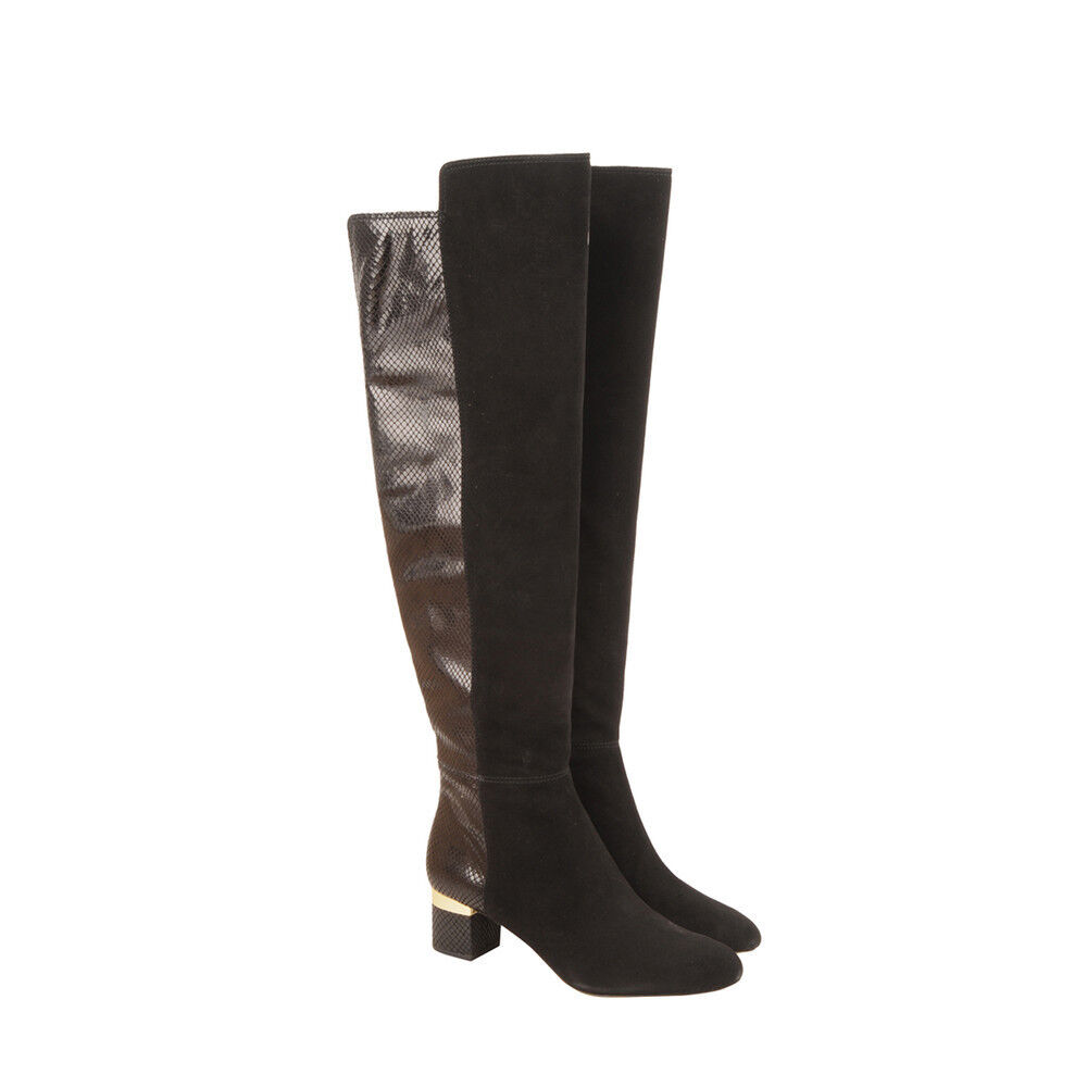 Michael Kors Womens Alaysia Tall Boot Brown Suede Pull-On Casual Knee-High Boots