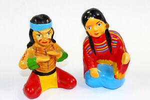 Vintage Salt and Pepper Shakers Indians 1950s