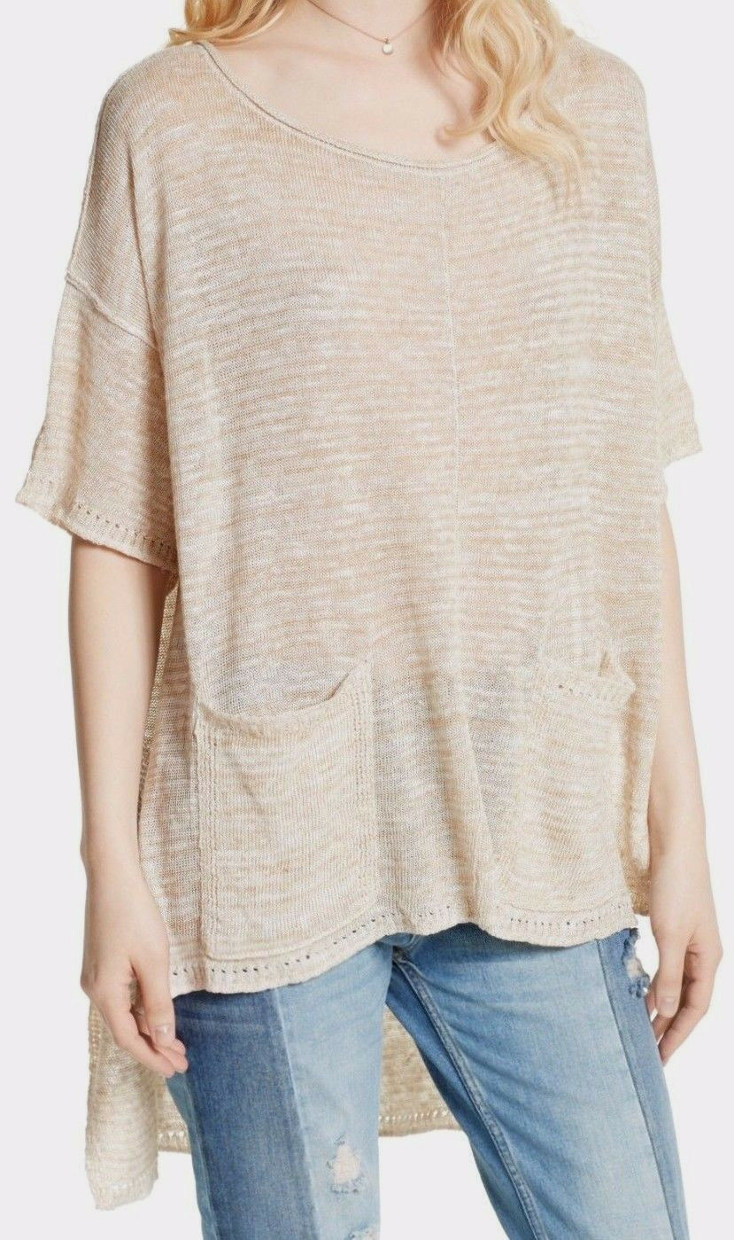 Free People OB572449 Light Bright High Low Sweater in Weiß Beige M