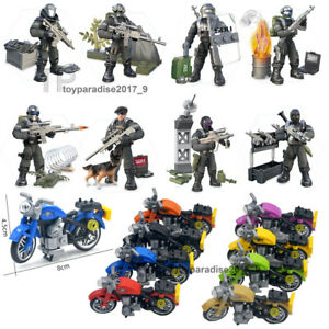 City-Police-Motorcycle-Set-Mini-Military-Soldiers-Army-Weapon-Figures-Fit-Mega
