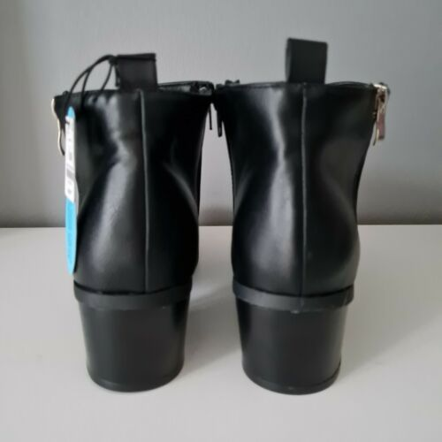 LADIES WOMENS BLACK CHELSEA ANKLE BOOTS LOW MID BLOCK HEEL BOOTS SIZE UK 4 5 6 8