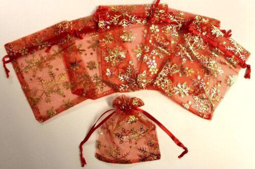 Christmas snowflake motif printed organza favour pouches 9x12cm red//gold festive