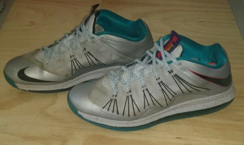 Men's Nike Air Max Lebron X Low  Silver/Teal Shoes Comfortable