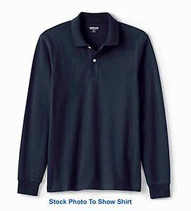 Lands-End-Mens-Long-Sleeve-Mesh-Polo-Shirt-Medium-Business-Casual-NWT