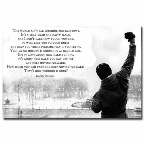 K153 Art Rocky Balboa Hot Motivational Inspirational Quote Canvas Fabric Poster