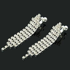 Clip-On-Screw-Kronleuchter-Strass-Kristalltropfen-Silber-Ohrclips-Ohrringe