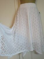 Maurices Plus Size 3 White Crinkled Lace Elastic Waist Asymmetrical Hi Low Skirt