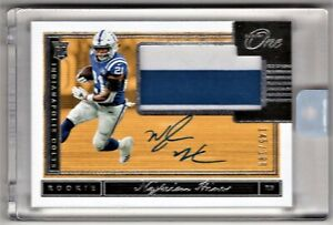 2018-Panini-One-Nyheim-Hines-2-Color-Patch-Autograph-Rookie-Card-039-d-199-COLTS