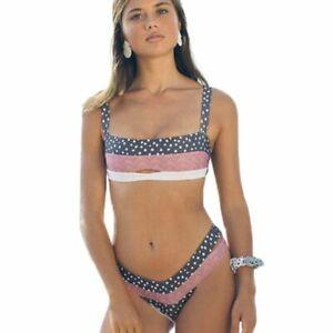 Women's Floral Bandeau Swimsuit Wire Free Bikini Low Waist Bathing Suit Lingerie