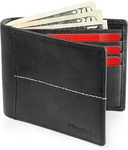 RFID Block Genuine Leather Wallet ID Window RFID Blocking Slim Bifold