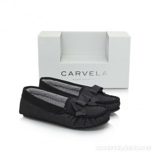 Carvela Kurt Geiger Size 7/8 Black fur lined Glitter Women's Gift Box Slippers