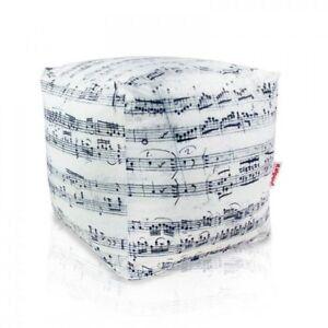 POUF POGGIAPIEDI SEDUTA CUBO TESSUTO MORBIDO MUSICA SFODERABILE BEAN BAG