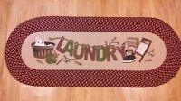 Country Style Laundry Room Braided Runner Floor Rug Home Decor Accent