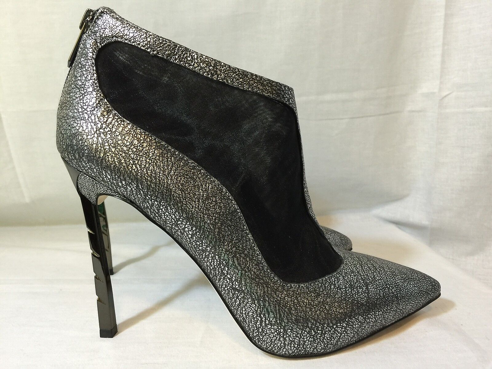 Sam Edelman Sterling argent argent Lea leather mesh ankle bottes stiletto chaussures