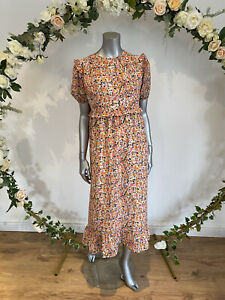 Influence Dress Size 8 & 12 White Pretty Pink Floral Tiered Maxi Midi Dress HA38