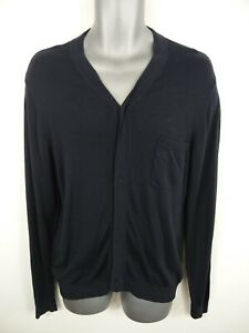 MENS-FRENCH-CONNECTION-NAVY-BLUE-BUTTON-UP-LONG-SLEEVED-CARDIGAN-JUMPER-M-MEDIUM