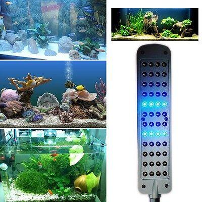 White+Blue 48 LED Clip Lamp Flexible Arm 2 Mode Light Bulb Aquarium Fish Tank