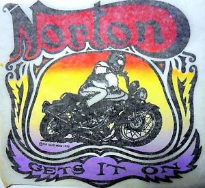 "Vintage 1973 The Rat's Hole ""NORTON GETS IT ON"" Iron-on Transfer"