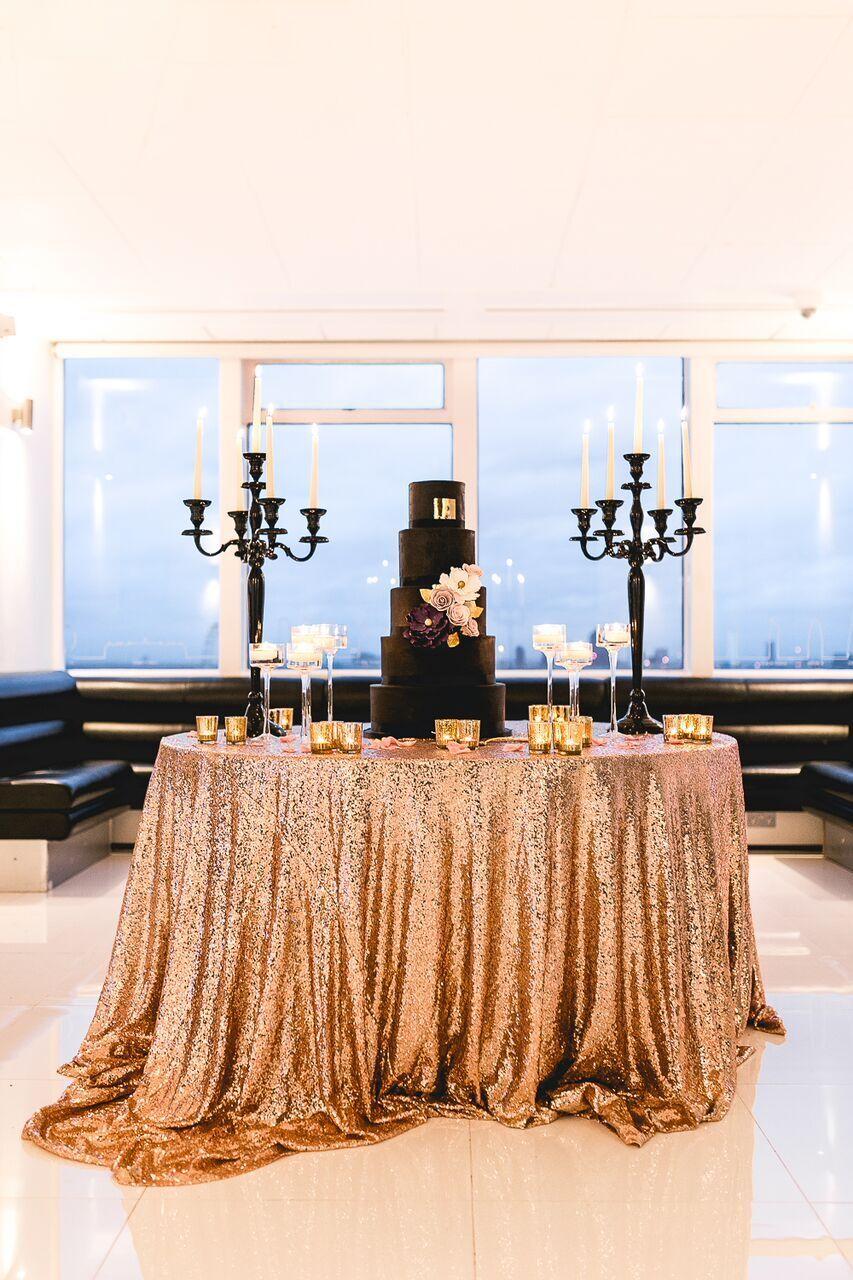 Pailletten Tischdecke Überzug 305cm Rund 9 Farben Events Hochzeit Dekor