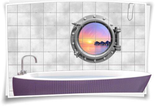 Fliesenaufkleber Fliesenbild Fliesen Bullauge Wasser Meer Aufkleber Badezimmer