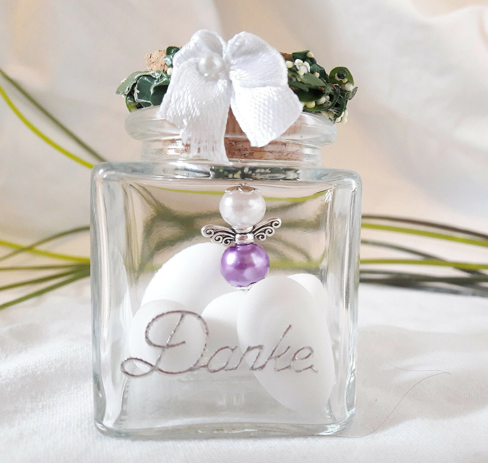 15 Schutzengel im Glas Lila  Weiss Hochzeit,Danke,Gastgeschenk,Hochzeitsmandeln