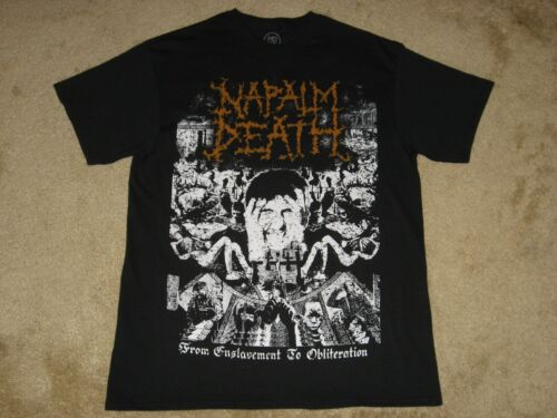 M XL L 2XL Black T-Shirt Napalm Death From Enslavement to Obliteration S