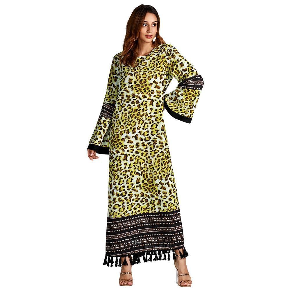 Muslim Women Long Sleeve Hijab Dress Maxi Abaya Islamic Women Dress Kaftan