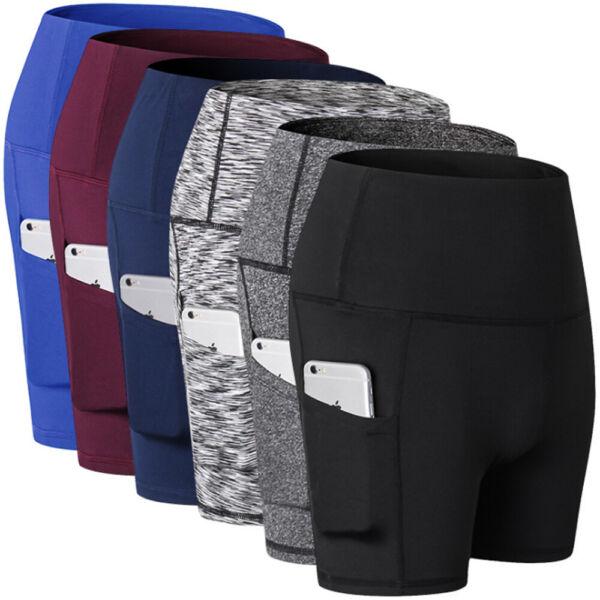 Damen Sports Kurze Shorts Leggings Taschen Fitnesshose Yoga Kurz Reflexstreifen